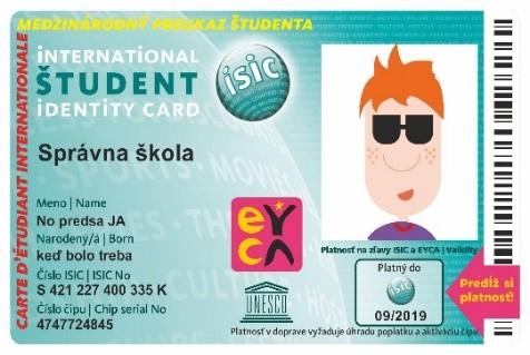 Obnovenia platnosti ISIC kariet pre 2. až 5. ročník.